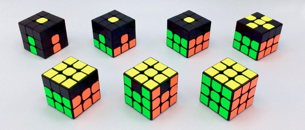 Rubik's Cube Step by Step Demonstration Cubes