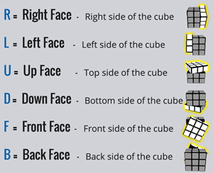 Rubik's Cube side face notation and names