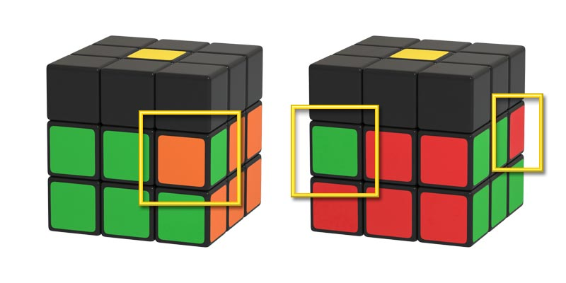 Rubik's Cube Middle Layer (Layer 2) edge pieces